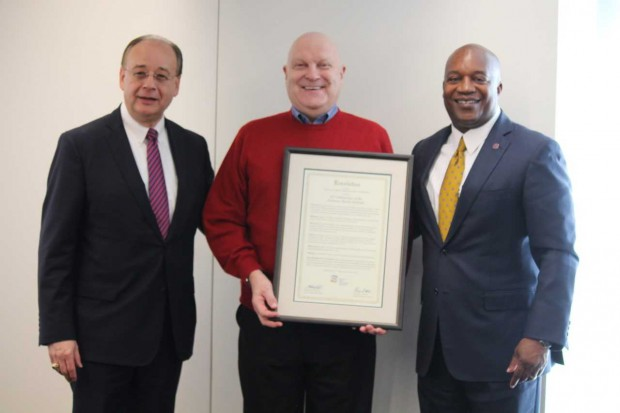 Paul Larrousse, Director of the National Transit Institute (center) is pictured with Paul Skoutelas, the new APTA CEO and former NTI Advisory Board Chair (left) and Nat Ford, APTA Chair (right).